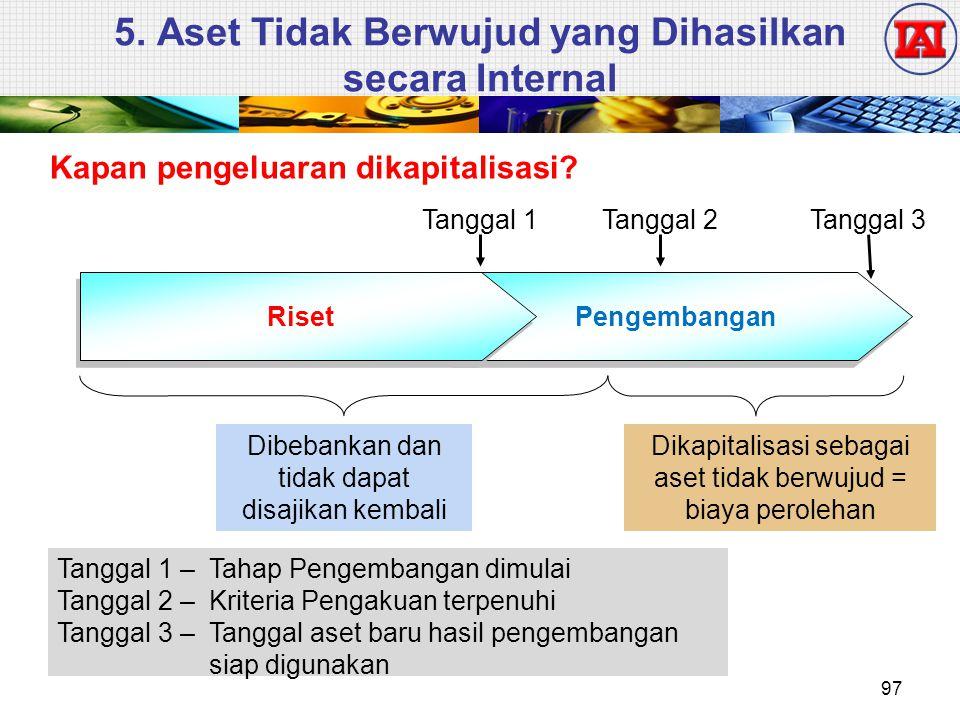 5. Aset Tidak Berwujud yang Dihasilkan secara Internal Kapan pengeluaran dikapitalisasi? Tanggal 1 – Tahap Pengembangan dimulai Tanggal 2 – Kriteria P