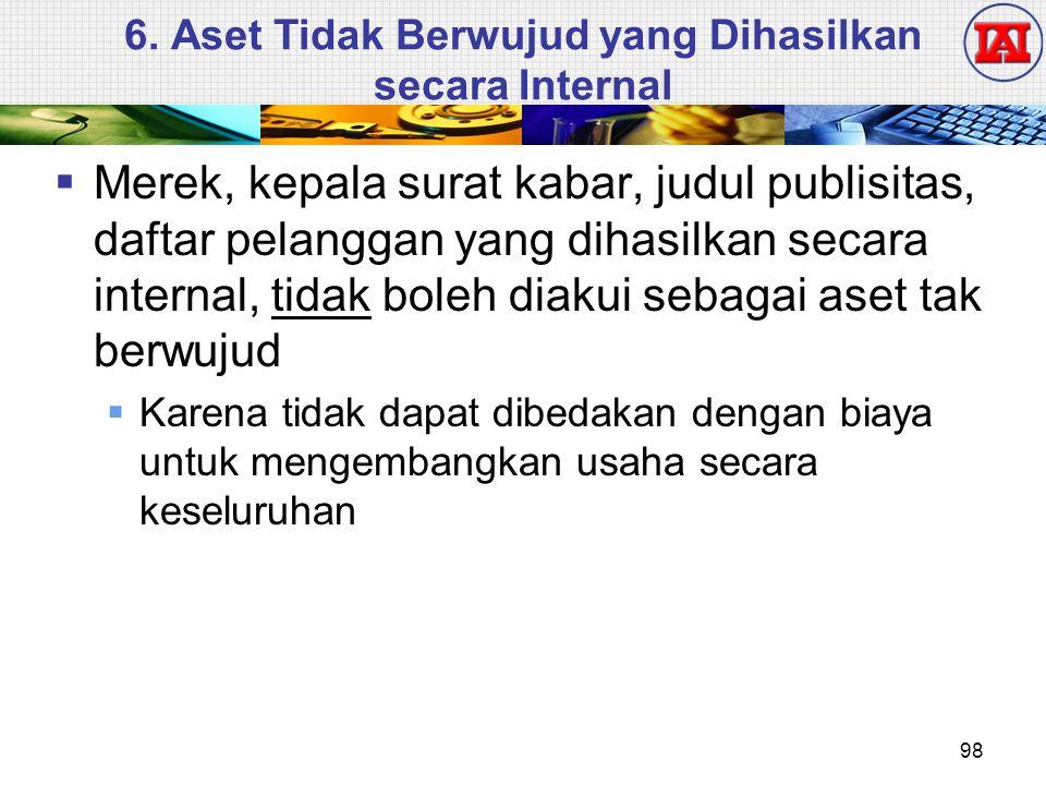 6. Aset Tidak Berwujud yang Dihasilkan secara Internal  Merek, kepala surat kabar, judul publisitas, daftar pelanggan yang dihasilkan secara internal