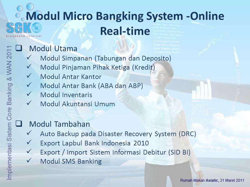 Modul Micro Bangking System -Online Real-time  Modul Utama Modul Simpanan (Tabungan dan Deposito) Modul Pinjaman Pihak Ketiga (Kredit) Modul Antar Ka