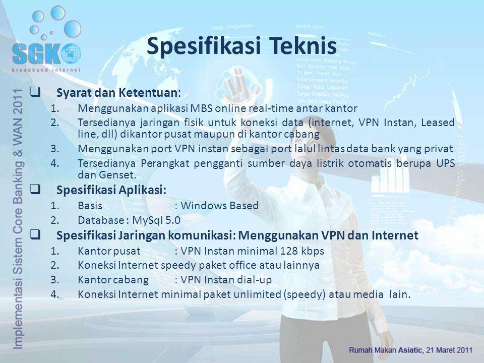 Spesifikasi Teknis  Syarat dan Ketentuan: 1.Menggunakan aplikasi MBS online real-time antar kantor 2.Tersedianya jaringan fisik untuk koneksi data (i