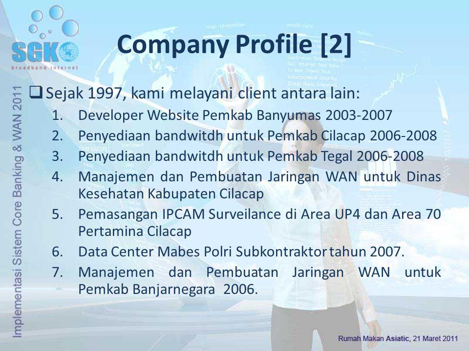 Company Profile [2]  Sejak 1997, kami melayani client antara lain: 1.Developer Website Pemkab Banyumas 2003-2007 2.Penyediaan bandwitdh untuk Pemkab