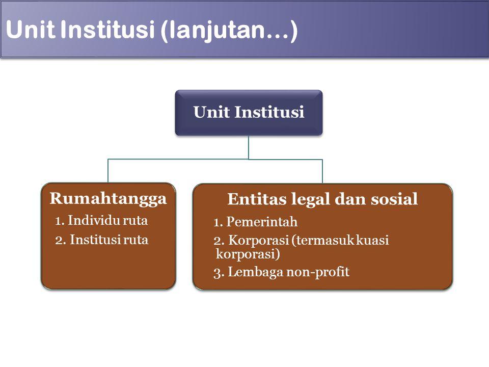 Unit Institusi (lanjutan…) Unit Institusi Rumahtangga 1. Individu ruta 2. Institusi ruta Entitas legal dan sosial 1. Pemerintah 2. Korporasi (termasuk