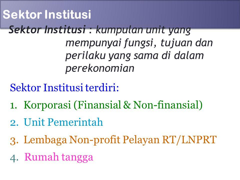 Sektor Institusi Sektor Institusi : kumpulan unit yang mempunyai fungsi, tujuan dan perilaku yang sama di dalam perekonomian Sektor Institusi terdiri: