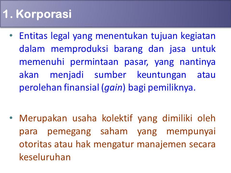 1. Korporasi Entitas legal yang menentukan tujuan kegiatan dalam memproduksi barang dan jasa untuk memenuhi permintaan pasar, yang nantinya akan menja