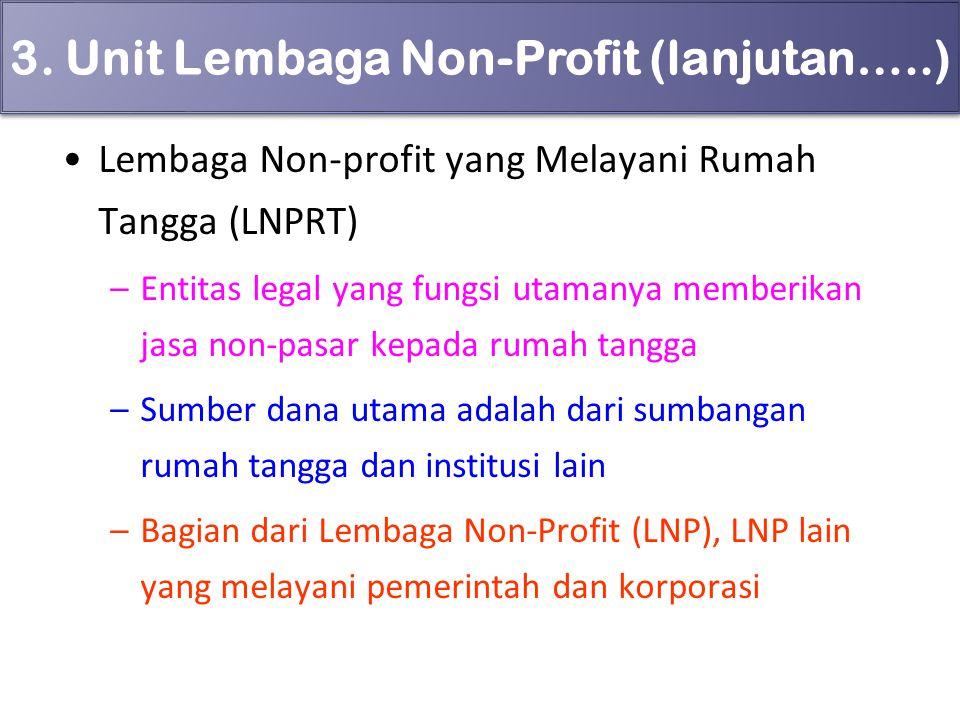 3. Unit Lembaga Non-Profit (lanjutan…..) Lembaga Non-profit yang Melayani Rumah Tangga (LNPRT) –Entitas legal yang fungsi utamanya memberikan jasa non