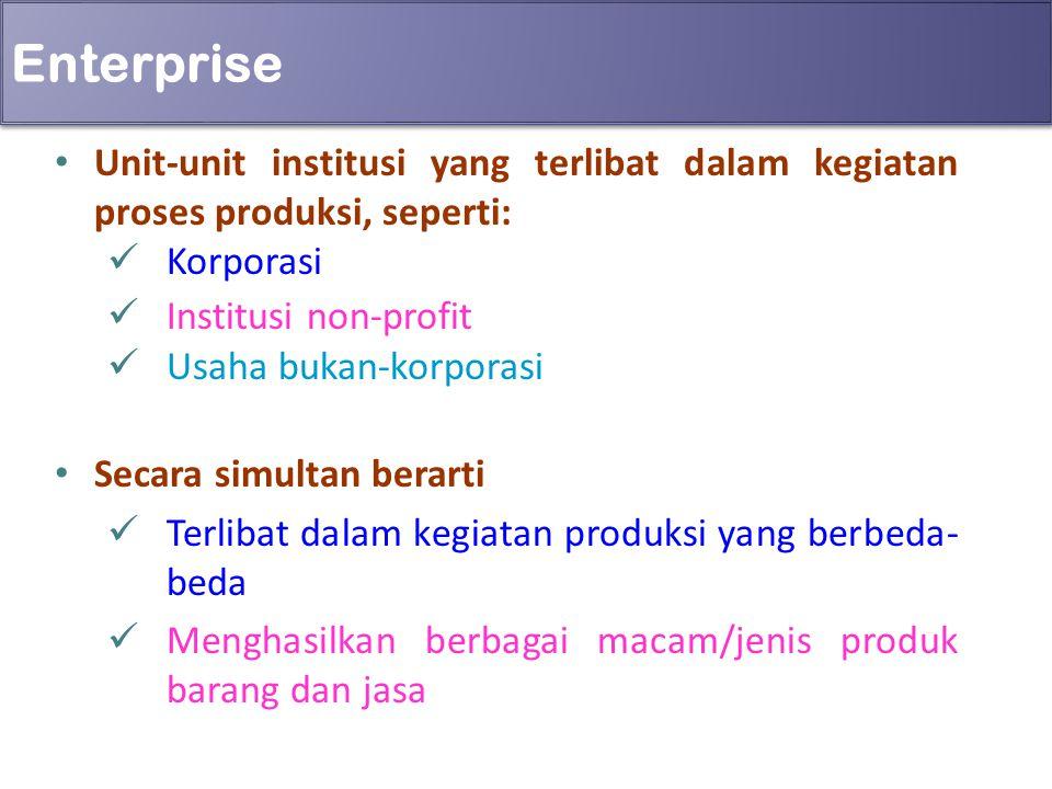 Enterprise Unit-unit institusi yang terlibat dalam kegiatan proses produksi, seperti: Korporasi Institusi non-profit Usaha bukan-korporasi Secara simu
