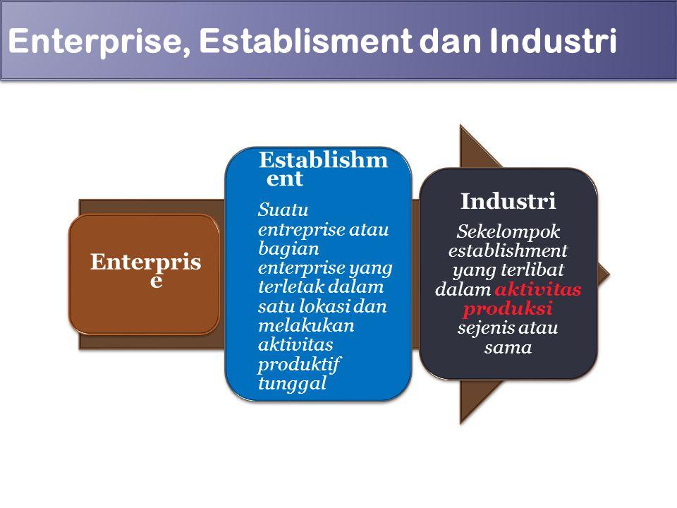 Enterprise, Establisment dan Industri Enterpris e Establishm ent Suatu entreprise atau bagian enterprise yang terletak dalam satu lokasi dan melakukan