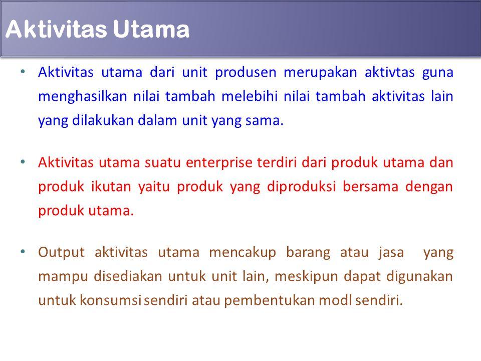 Aktivitas Utama Aktivitas utama dari unit produsen merupakan aktivtas guna menghasilkan nilai tambah melebihi nilai tambah aktivitas lain yang dilakuk