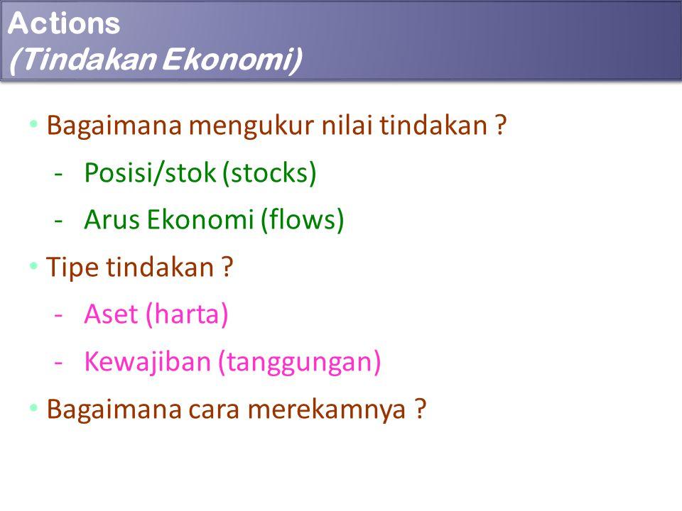 Actions (Tindakan Ekonomi) Bagaimana mengukur nilai tindakan ? - Posisi/stok (stocks) - Arus Ekonomi (flows) Tipe tindakan ? - Aset (harta) - Kewajiba