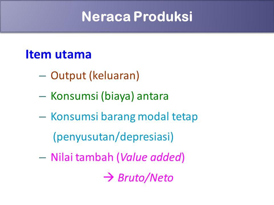 70 Neraca Produksi Item utama – Output (keluaran) – Konsumsi (biaya) antara – Konsumsi barang modal tetap (penyusutan/depresiasi) – Nilai tambah (Valu