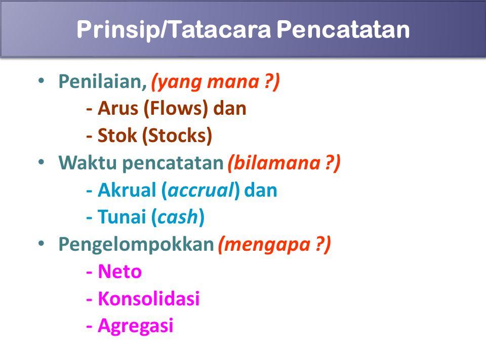 85 Prinsip/Tatacara Pencatatan Penilaian, (yang mana ?) - Arus (Flows) dan - Stok (Stocks) Waktu pencatatan (bilamana ?) - Akrual (accrual) dan - Tuna
