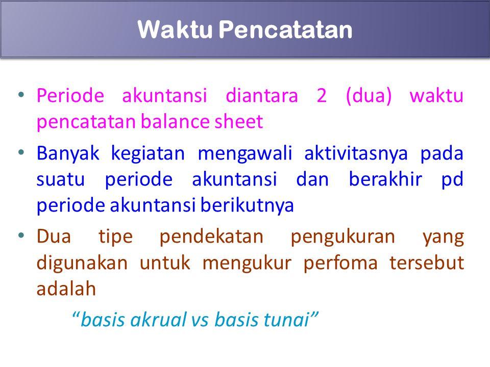 88 Waktu Pencatatan Periode akuntansi diantara 2 (dua) waktu pencatatan balance sheet Banyak kegiatan mengawali aktivitasnya pada suatu periode akunta