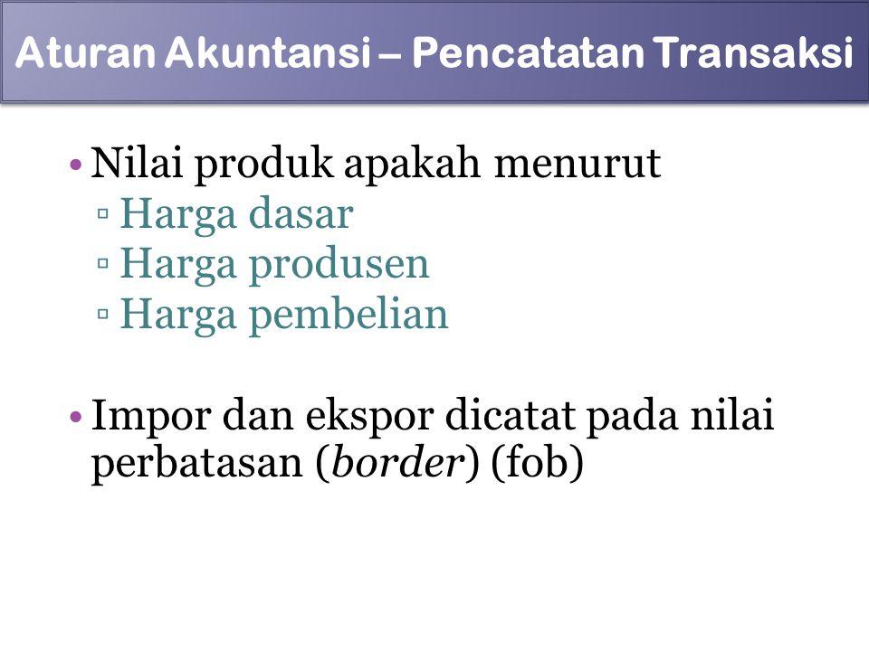 Nilai produk apakah menurut ▫Harga dasar ▫Harga produsen ▫Harga pembelian Impor dan ekspor dicatat pada nilai perbatasan (border) (fob) 96 Aturan Akun