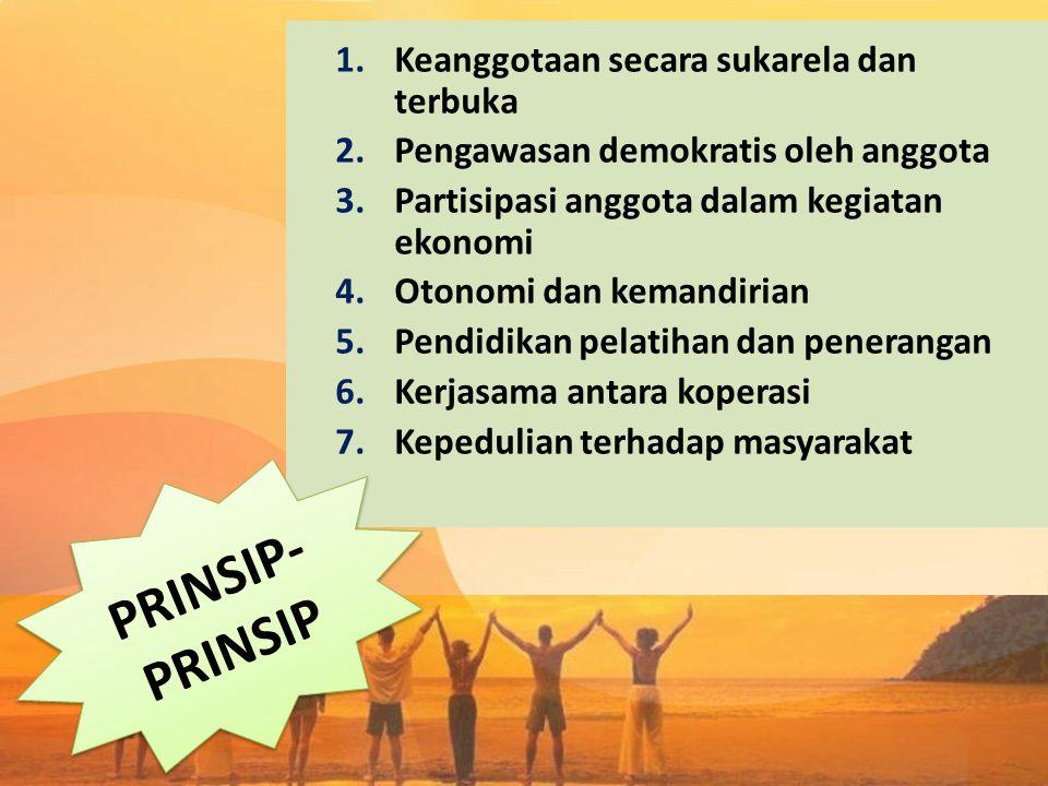 1.Keanggotaan secara sukarela dan terbuka 2.Pengawasan demokratis oleh anggota 3.Partisipasi anggota dalam kegiatan ekonomi 4.Otonomi dan kemandirian