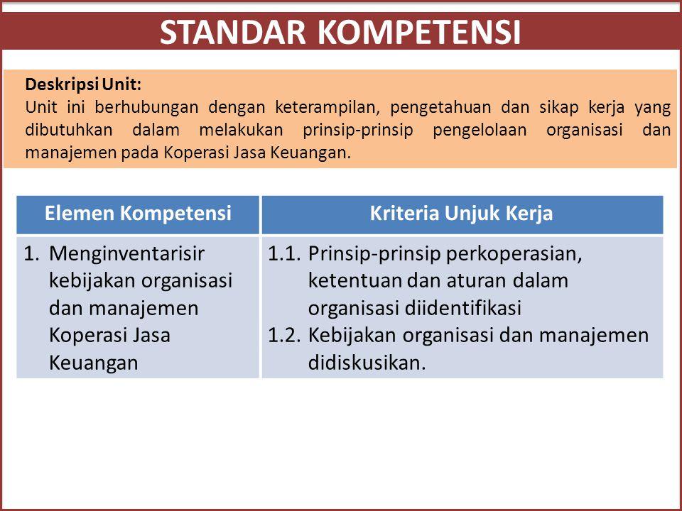 STANDAR KOMPETENSI Deskripsi Unit: Unit ini berhubungan dengan keterampilan, pengetahuan dan sikap kerja yang dibutuhkan dalam melakukan prinsip-prins