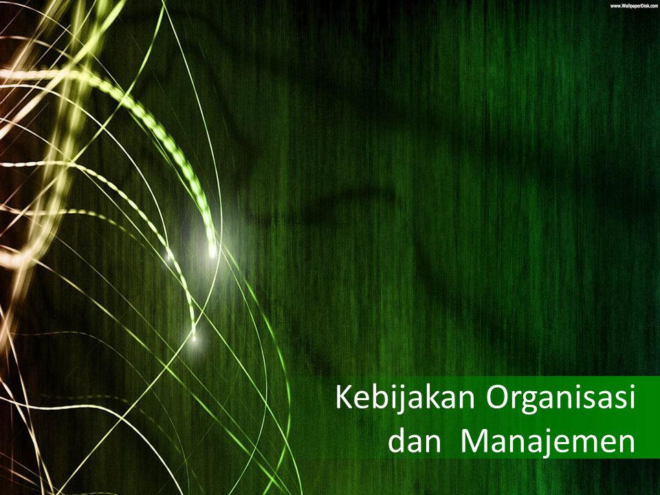 Kebijakan Organisasi dan Manajemen