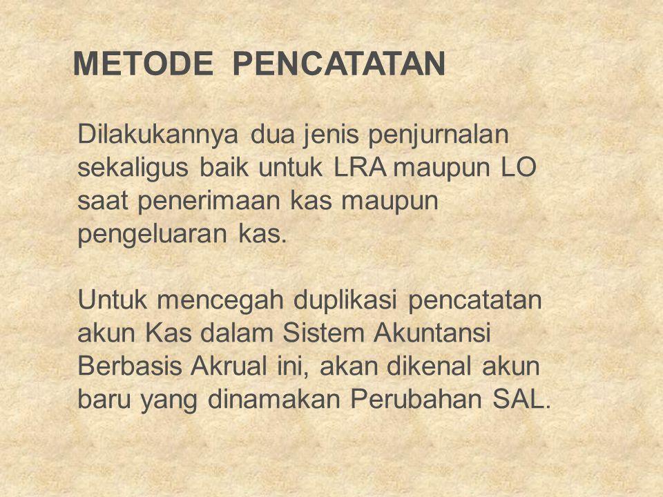 Dilakukannya dua jenis penjurnalan sekaligus baik untuk LRA maupun LO saat penerimaan kas maupun pengeluaran kas.