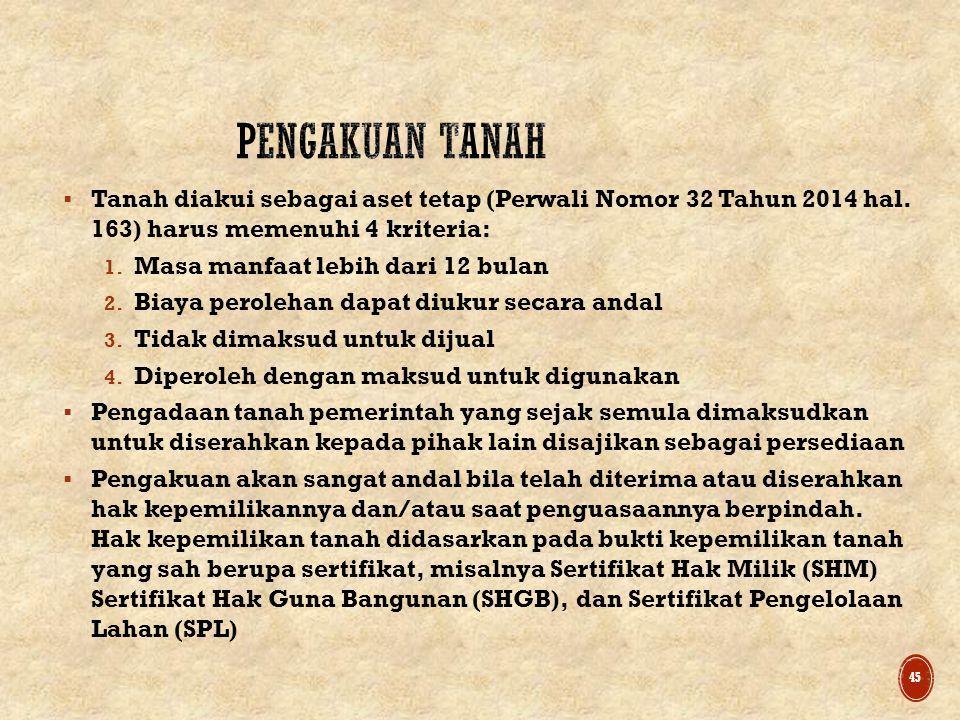  Tanah diakui sebagai aset tetap (Perwali Nomor 32 Tahun 2014 hal.