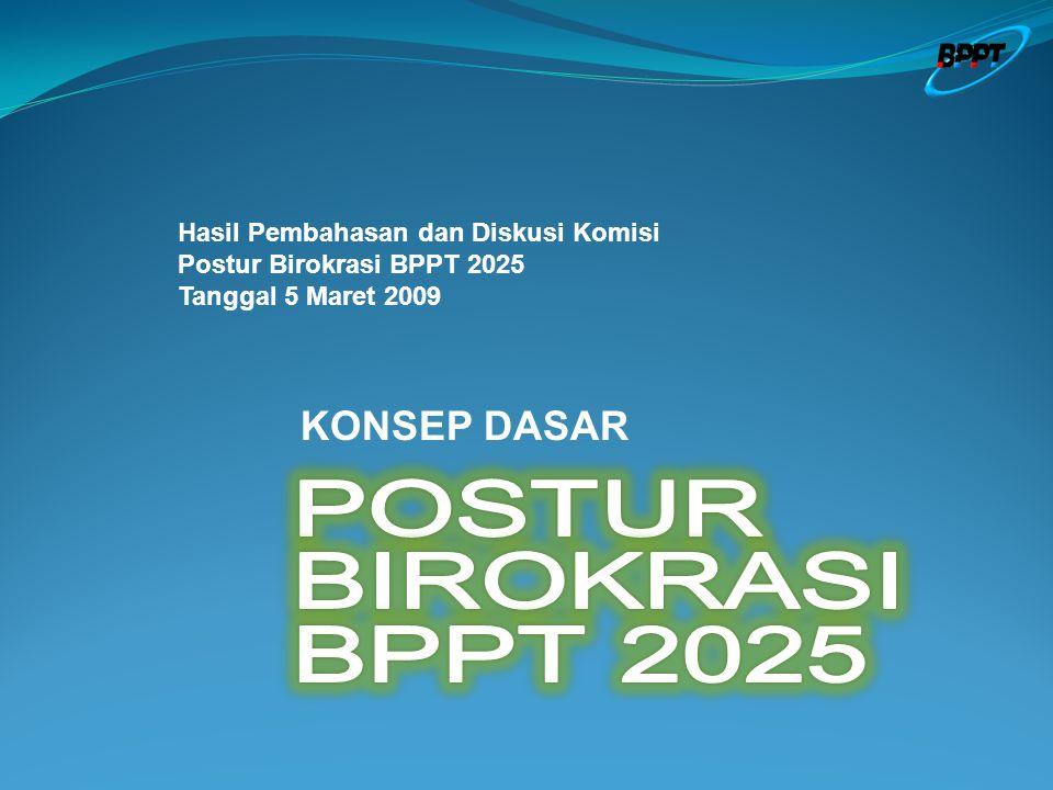 Hasil Pembahasan dan Diskusi Komisi Postur Birokrasi BPPT 2025 Tanggal 5 Maret 2009 KONSEP DASAR