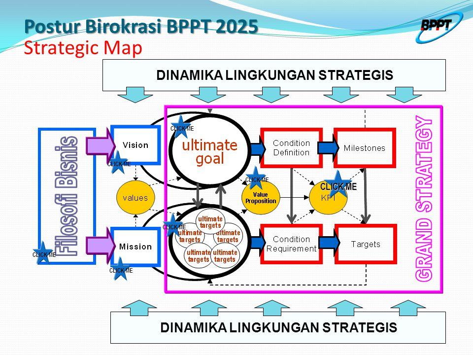 CLICK ME DINAMIKA LINGKUNGAN STRATEGIS CLICK ME Postur Birokrasi BPPT 2025 Postur Birokrasi BPPT 2025 Strategic Map