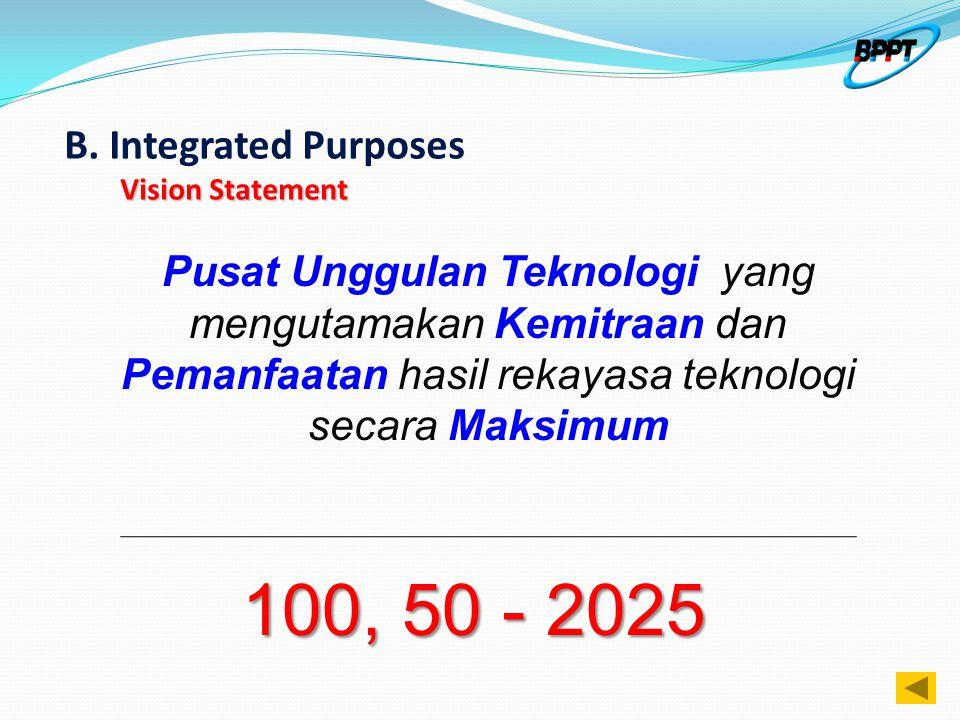 Vision Statement B. Integrated Purposes Vision Statement Pusat Unggulan Teknologi yang mengutamakan Kemitraan dan Pemanfaatan hasil rekayasa teknologi