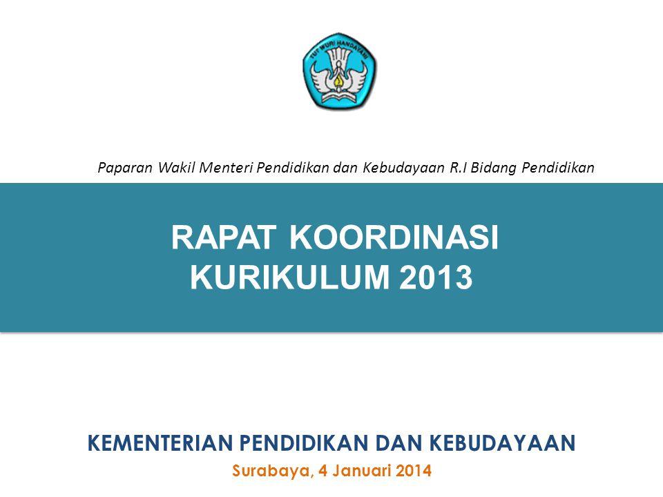 1 RAPAT KOORDINASI KURIKULUM 2013 1 KEMENTERIAN PENDIDIKAN DAN KEBUDAYAAN Surabaya, 4 Januari 2014 Paparan Wakil Menteri Pendidikan dan Kebudayaan R.I
