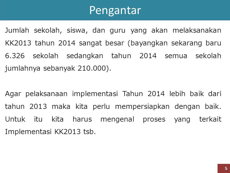Pengantar 5 Jumlah sekolah, siswa, dan guru yang akan melaksanakan KK2013 tahun 2014 sangat besar (bayangkan sekarang baru 6.326 sekolah sedangkan tah