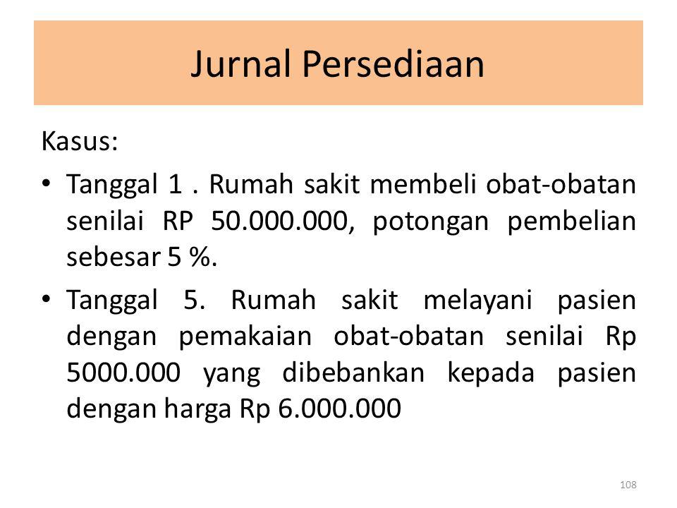 Jurnal Persediaan Kasus: Tanggal 1. Rumah sakit membeli obat-obatan senilai RP 50.000.000, potongan pembelian sebesar 5 %. Tanggal 5. Rumah sakit mela