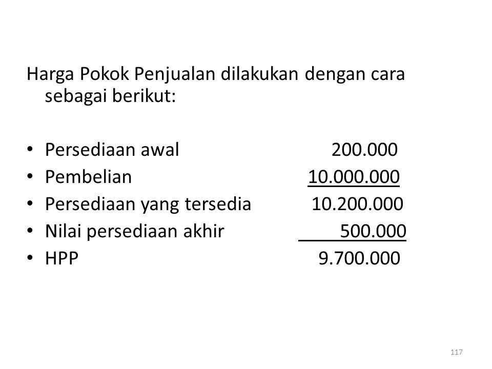 Harga Pokok Penjualan dilakukan dengan cara sebagai berikut: Persediaan awal 200.000 Pembelian 10.000.000 Persediaan yang tersedia 10.200.000 Nilai pe