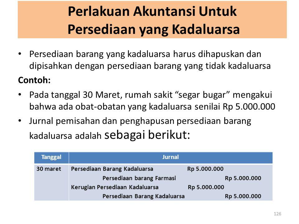 Perlakuan Akuntansi Untuk Persediaan yang Kadaluarsa 126 Persediaan barang yang kadaluarsa harus dihapuskan dan dipisahkan dengan persediaan barang ya