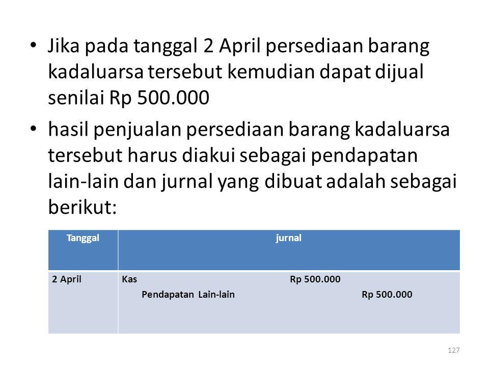127 Jika pada tanggal 2 April persediaan barang kadaluarsa tersebut kemudian dapat dijual senilai Rp 500.000 hasil penjualan persediaan barang kadalua
