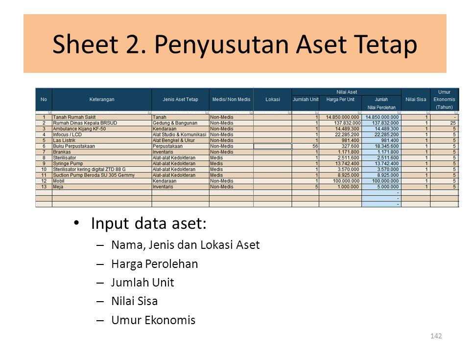 Sheet 2. Penyusutan Aset Tetap Input data aset: – Nama, Jenis dan Lokasi Aset – Harga Perolehan – Jumlah Unit – Nilai Sisa – Umur Ekonomis 142