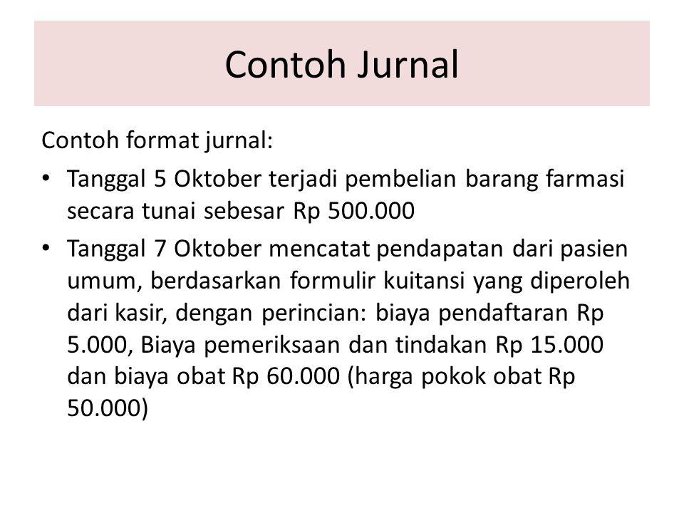 Contoh Jurnal Contoh format jurnal: Tanggal 5 Oktober terjadi pembelian barang farmasi secara tunai sebesar Rp 500.000 Tanggal 7 Oktober mencatat pend