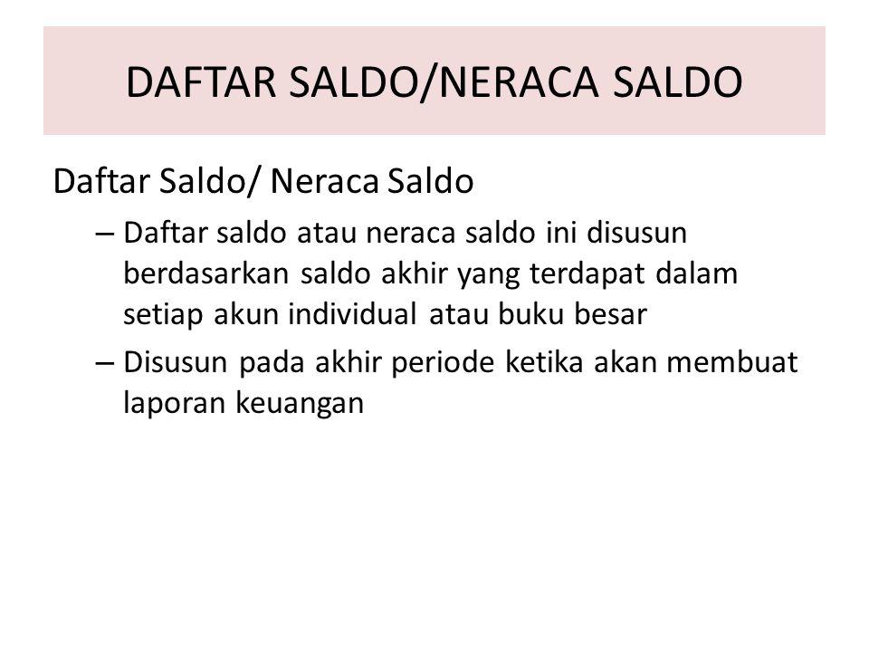 DAFTAR SALDO/NERACA SALDO Daftar Saldo/ Neraca Saldo – Daftar saldo atau neraca saldo ini disusun berdasarkan saldo akhir yang terdapat dalam setiap a