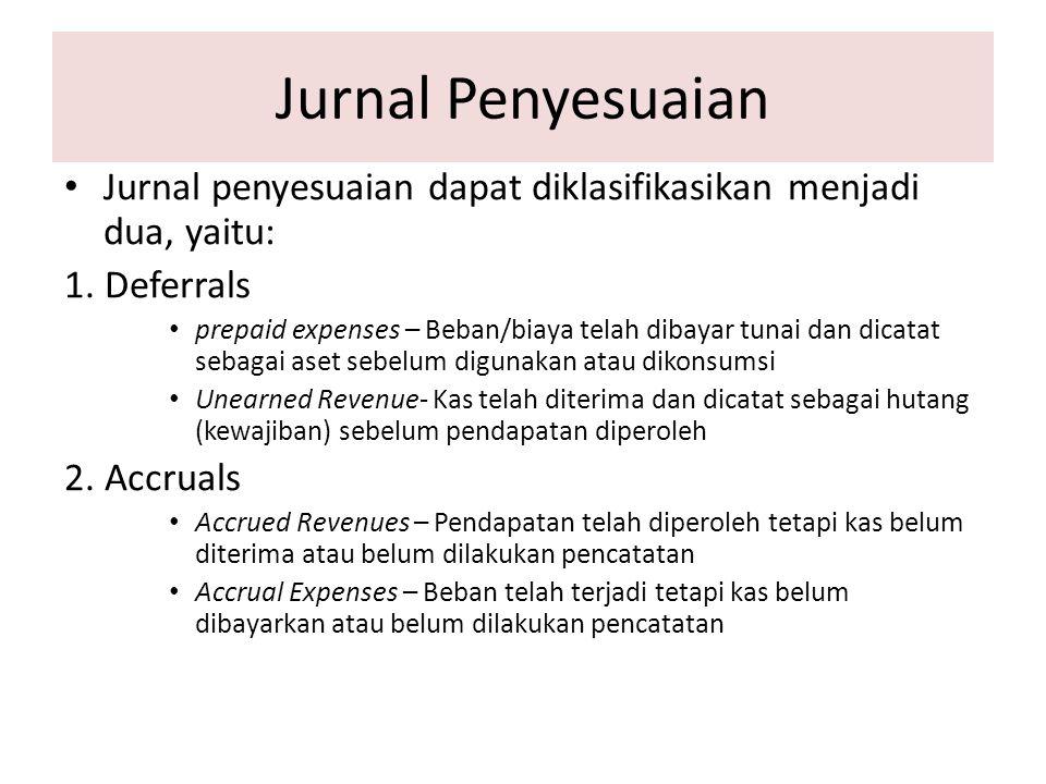 Jurnal Penyesuaian Jurnal penyesuaian dapat diklasifikasikan menjadi dua, yaitu: 1. Deferrals prepaid expenses – Beban/biaya telah dibayar tunai dan d