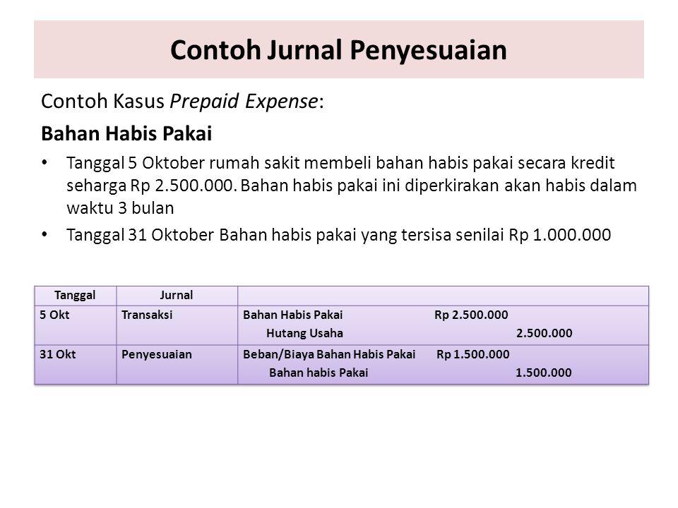 Contoh Jurnal Penyesuaian Contoh Kasus Prepaid Expense: Bahan Habis Pakai Tanggal 5 Oktober rumah sakit membeli bahan habis pakai secara kredit seharg