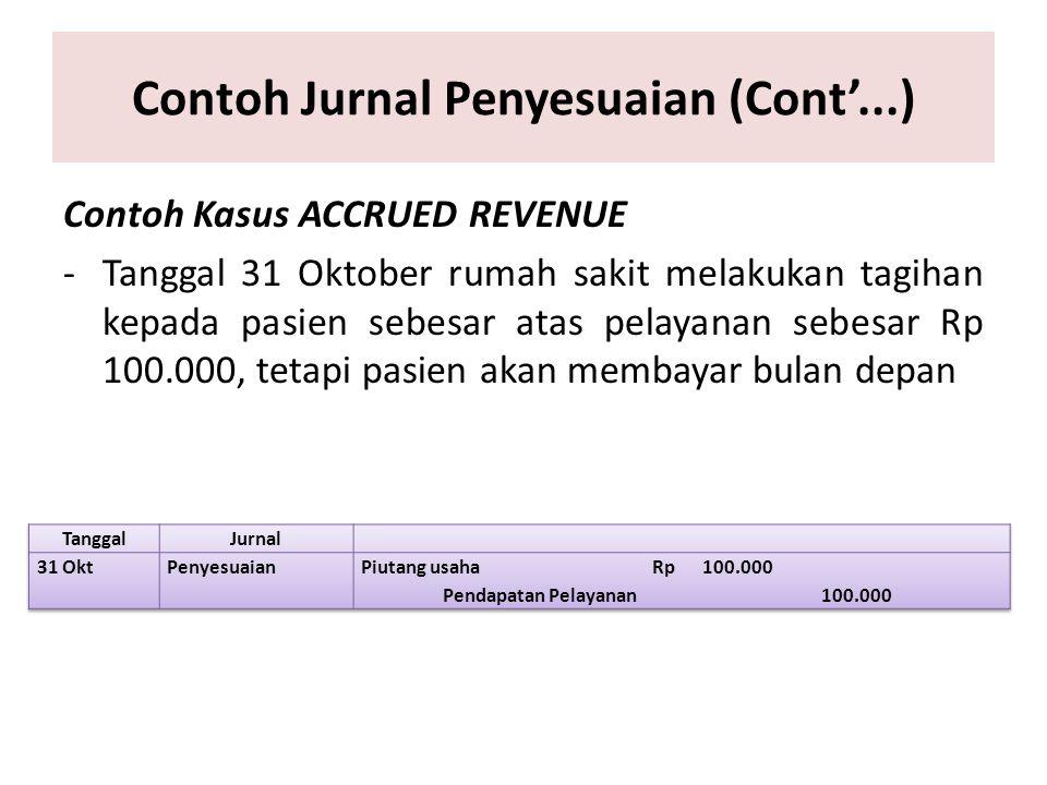 Contoh Jurnal Penyesuaian (Cont'...) Contoh Kasus ACCRUED REVENUE -Tanggal 31 Oktober rumah sakit melakukan tagihan kepada pasien sebesar atas pelayan