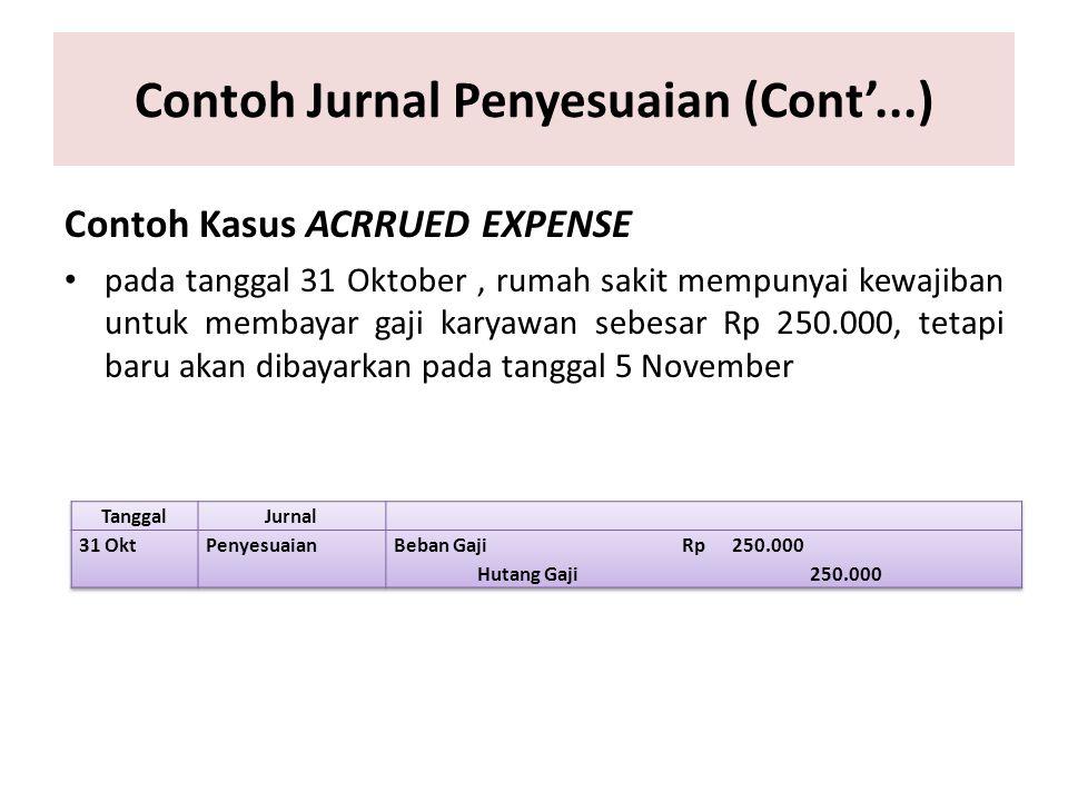 Contoh Jurnal Penyesuaian (Cont'...) Contoh Kasus ACRRUED EXPENSE pada tanggal 31 Oktober, rumah sakit mempunyai kewajiban untuk membayar gaji karyawa