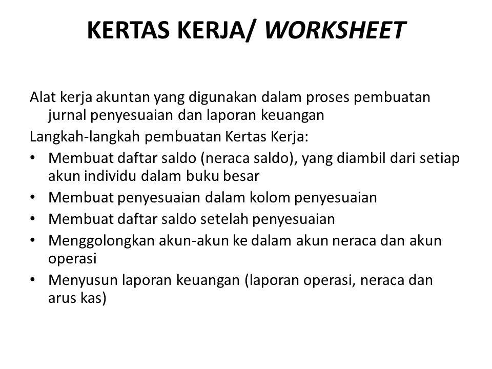 KERTAS KERJA/ WORKSHEET Alat kerja akuntan yang digunakan dalam proses pembuatan jurnal penyesuaian dan laporan keuangan Langkah-langkah pembuatan Ker