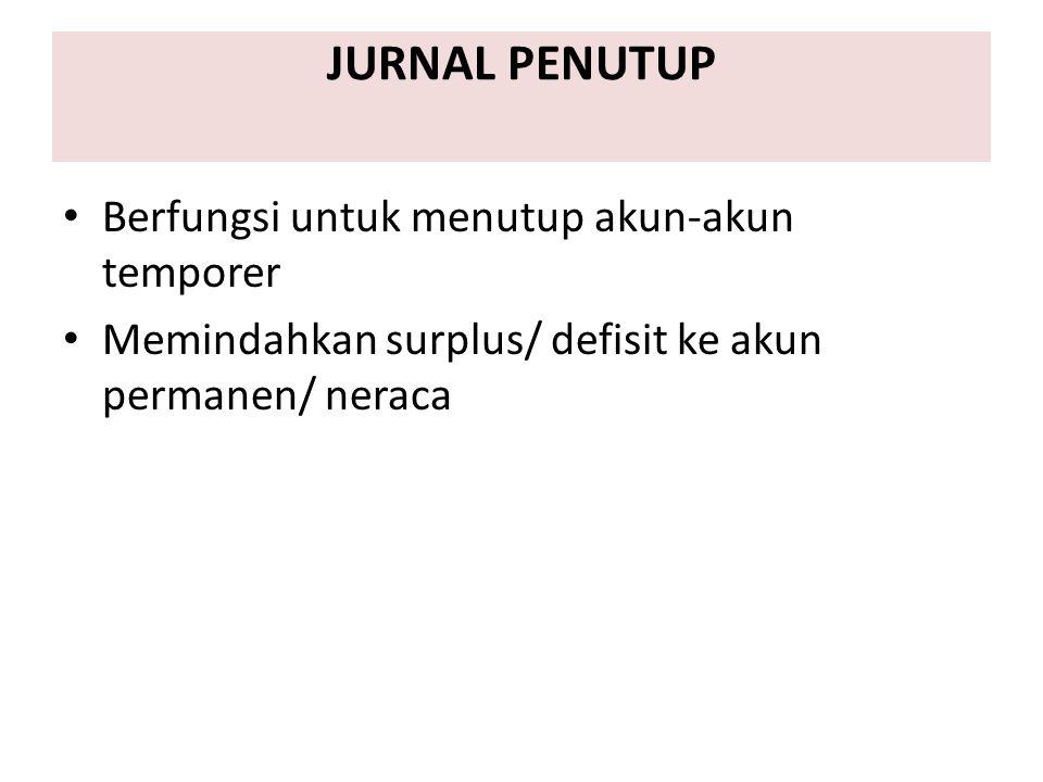 JURNAL PENUTUP Berfungsi untuk menutup akun-akun temporer Memindahkan surplus/ defisit ke akun permanen/ neraca