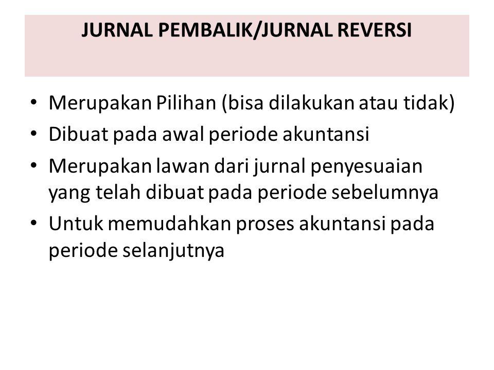 JURNAL PEMBALIK/JURNAL REVERSI Merupakan Pilihan (bisa dilakukan atau tidak) Dibuat pada awal periode akuntansi Merupakan lawan dari jurnal penyesuaia