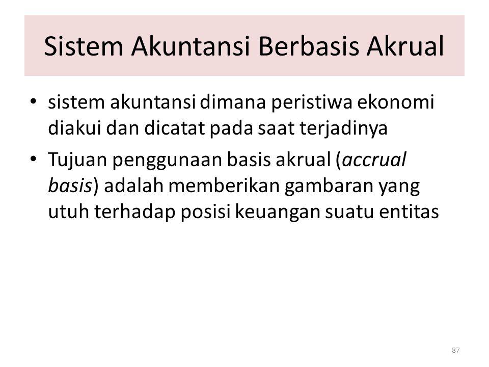 Sistem Akuntansi Berbasis Akrual 87 sistem akuntansi dimana peristiwa ekonomi diakui dan dicatat pada saat terjadinya Tujuan penggunaan basis akrual (