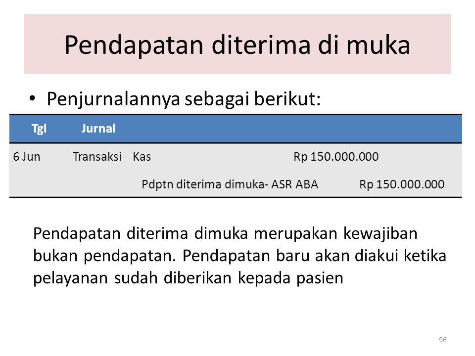 Pendapatan diterima di muka 96 Penjurnalannya sebagai berikut: TglJurnal 6 JunTransaksiKas Rp 150.000.000 Pdptn diterima dimuka- ASR ABA Rp 150.000.00