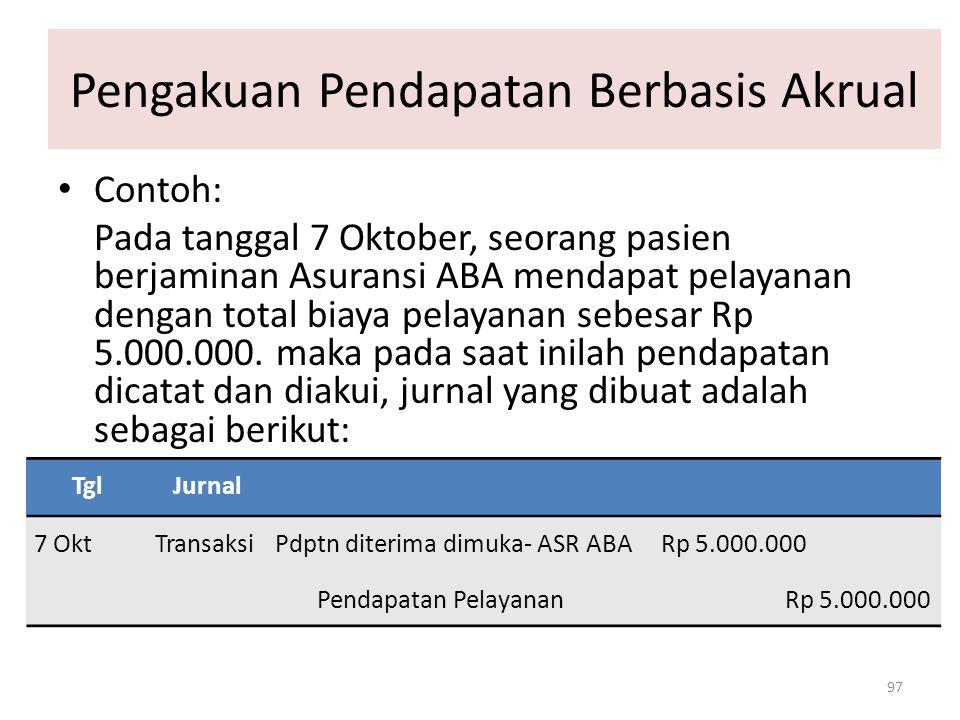 Pengakuan Pendapatan Berbasis Akrual 97 Contoh: Pada tanggal 7 Oktober, seorang pasien berjaminan Asuransi ABA mendapat pelayanan dengan total biaya p