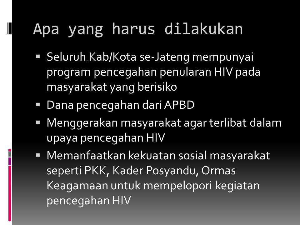 Apa yang harus dilakukan  Seluruh Kab/Kota se-Jateng mempunyai program pencegahan penularan HIV pada masyarakat yang berisiko  Dana pencegahan dari APBD  Menggerakan masyarakat agar terlibat dalam upaya pencegahan HIV  Memanfaatkan kekuatan sosial masyarakat seperti PKK, Kader Posyandu, Ormas Keagamaan untuk mempelopori kegiatan pencegahan HIV