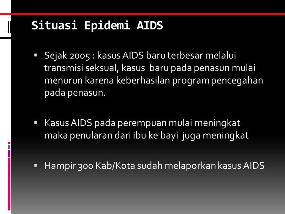 Situasi Epidemi AIDS  Sejak 2005 : kasus AIDS baru terbesar melalui transmisi seksual, kasus baru pada penasun mulai menurun karena keberhasilan program pencegahan pada penasun.