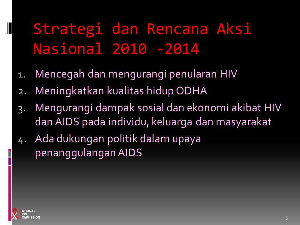 5 Strategi dan Rencana Aksi Nasional 2010 -2014 1. Mencegah dan mengurangi penularan HIV 2. Meningkatkan kualitas hidup ODHA 3. Mengurangi dampak sosi