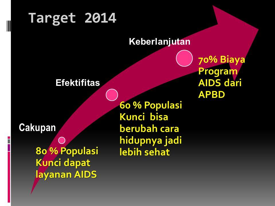 Target 2014 80 % Populasi Kunci dapat layanan AIDS 60 % Populasi Kunci bisa berubah cara hidupnya jadi lebih sehat 70% Biaya Program AIDS dari APBD Cakupan Efektifitas Keberlanjutan