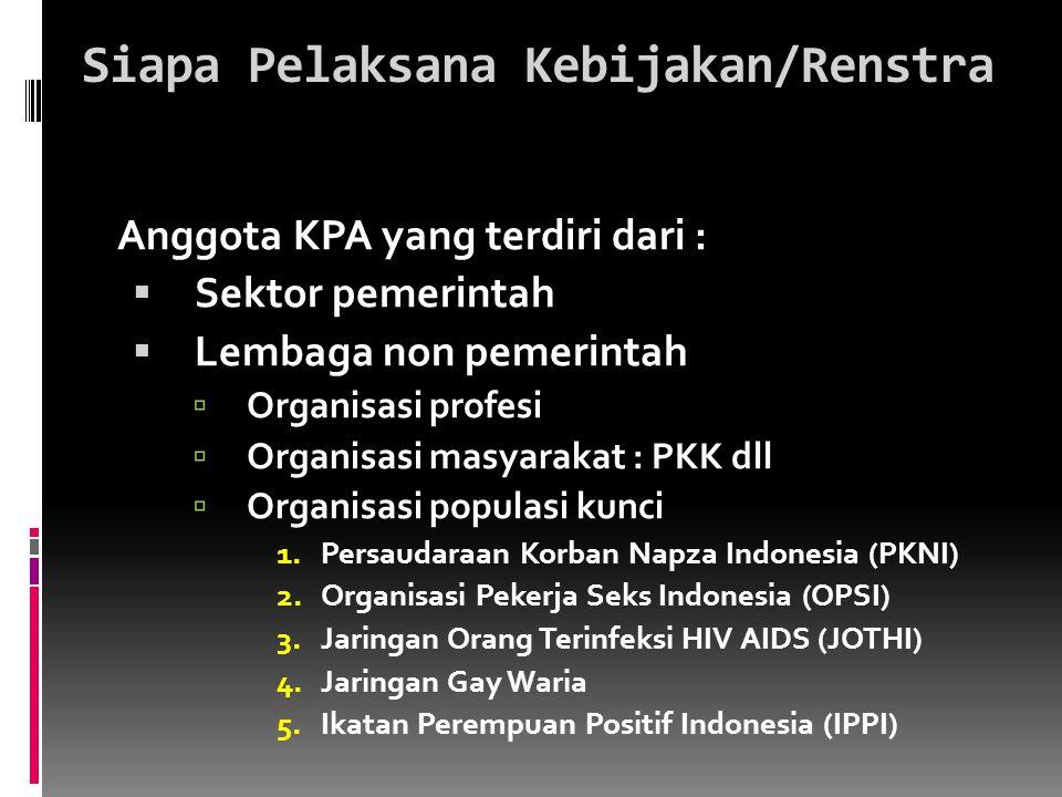 Siapa Pelaksana Kebijakan/Renstra Anggota KPA yang terdiri dari :  Sektor pemerintah  Lembaga non pemerintah  Organisasi profesi  Organisasi masya