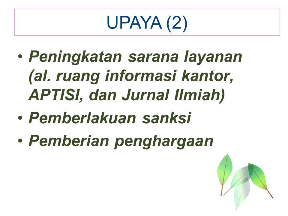 Peningkatan sarana layanan (al. ruang informasi kantor, APTISI, dan Jurnal Ilmiah) Pemberlakuan sanksi Pemberian penghargaan UPAYA (2)
